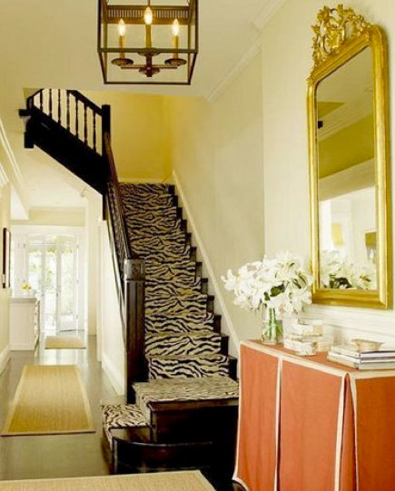 zebra print carpet runner on a staircase