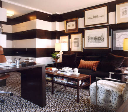 striped walls - chocolate and white broad striped high-gloss walls in a den by Robert Passal via Atticmag