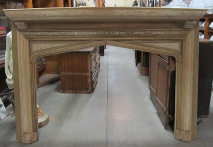 antique carved oak mantel with bow front shelf from Nor&#039;East Architectural salvage