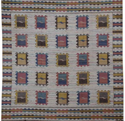 geometric patterned rugs - vintage Swedish kilim rug from Mansour via Atticmag