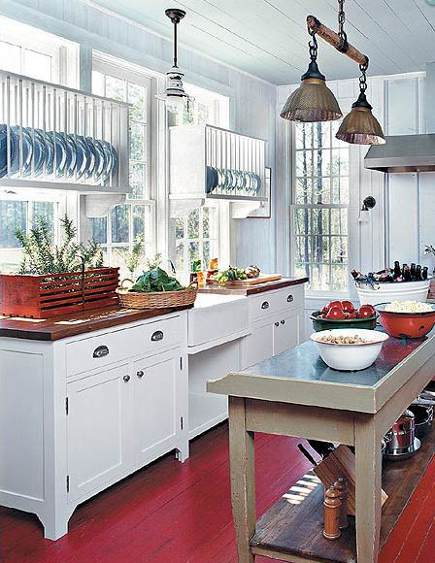 kitchen plate racks - pair of backless plate racks mounted over windows - Southern Living via Atticmag