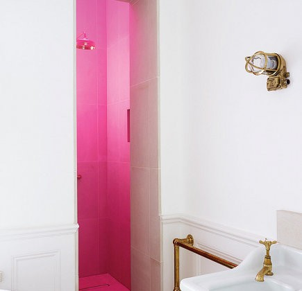 pink tinted bathroom skylight in master bath shower by Harriet Anstruther -NYTimes Magazine via Atticmag