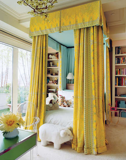 floor to ceiling vibrant yellow bed canopy fabric by Sandra Loveland Bragdon