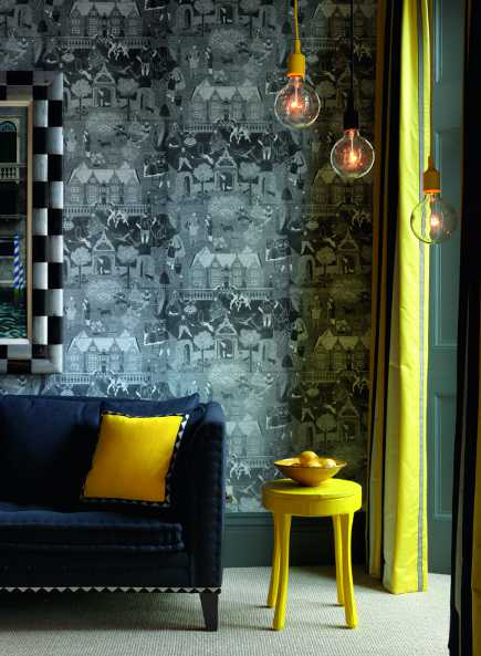 black and yellow room in Firmdale hotel Number Sixteen from A Living Space by Kit Kemp