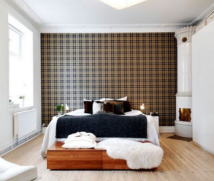 white contemporary bedroom with tartan print accent wall
