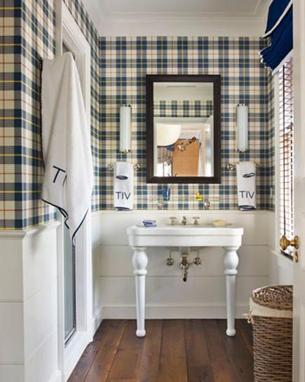 tartan plaid - navy plaid wallpaper in a traditional bathroom - Veranda via Atticmag