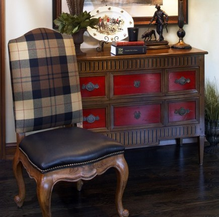 tartan plaid - side chair with plain bad and black leather seat - gabberts via atticmag