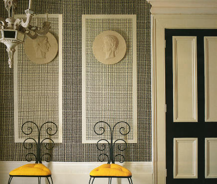 wallpaper styles - small scale geometric Fez II wallpaper in black and white - Quadrille Fabrics via Atticmag