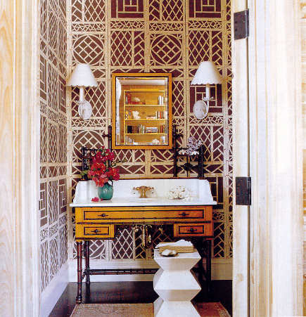 brown and Lyford Trellis bathroom wallpaper by China Seas - Quadrille via Atticmag rom China Seas