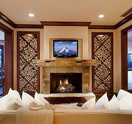 Firewood Storage   Traditional Living Room With Decorative Crossbuck Firewood  Storage Shelves   Zillow Via Atticmag