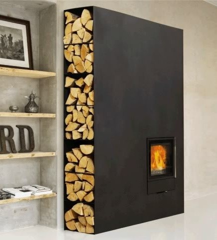 modern steel living room fireplace with built-in firewood storage shelves