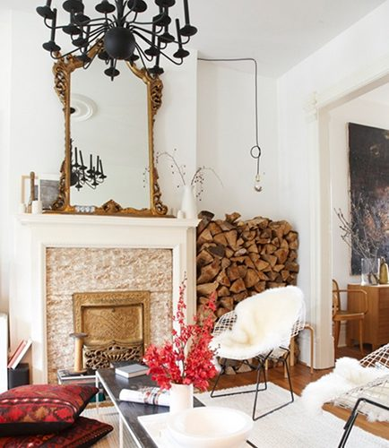 eclectic living room with firewood storage niche