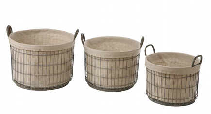 interior decorator gift ideas - set of three lined tin storage baskets by Creative Co-op via Atticmag