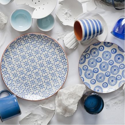 sustainable material gifts - handmade blue and white glaze dinnerware from Canvas Home Store via Atticmag