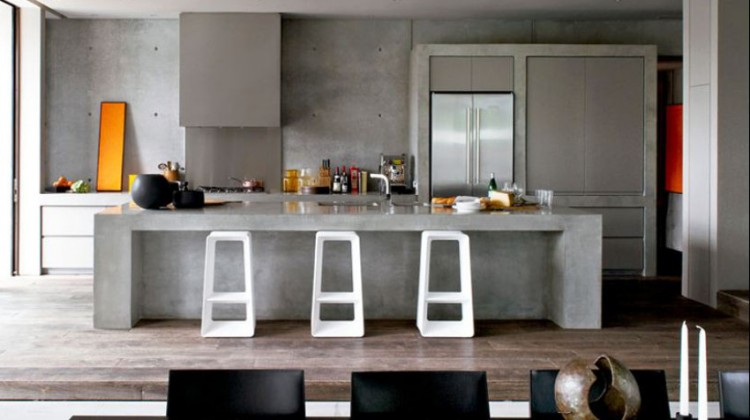 minimalist kitchen hoods - box hood in a concrete and basalt modernist kitchen by Robert Mills architect via atticmag