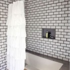White Tile Baths with Bold Grout