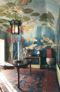 dining room with Michael Dillon koi fish swimming and oriental furnishings
