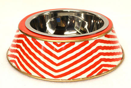 Kenya red pet food bowl by Jayes Studio