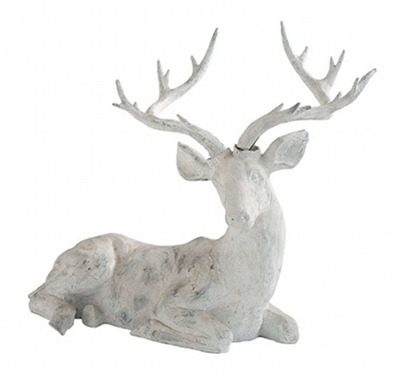 white antique finish deer statue from Wisteria catalog