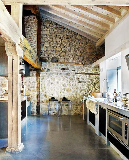stonewall kitchens - rustic modern Spanish kitchen with stone walls