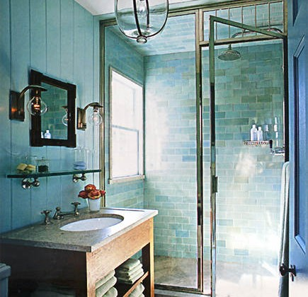 turquoise bathroom by Steven Gambrel - WOI via Atticmag