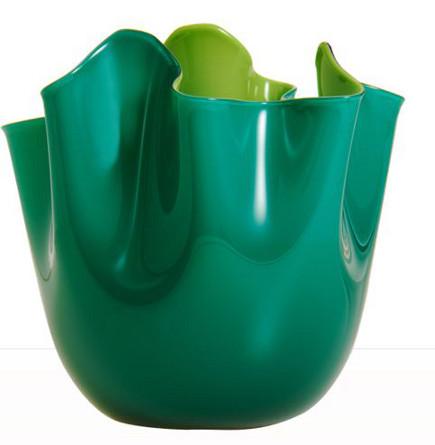 Emerald green Venini Fazzoletti Murano glass vase