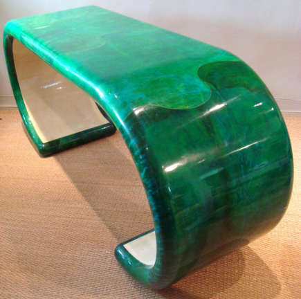 "color of the year 2013 emerald green goatskin console ""bracelet"" table in the style of Karl Springer - first dibs via atticmag"