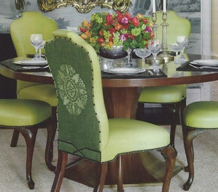 embroidered chair backs - custom embroidered medallions on dining room chair backs by Ruthie Sommers - Veranda via Atticmag