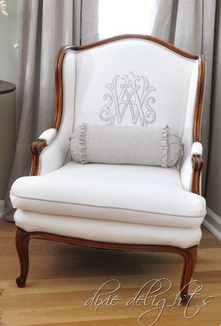 monogrammed easy chairs - beige monogram on white fauteuil - dixie delights via atticmag