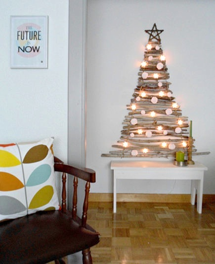 alternative wall Christmas tree made from driftwood