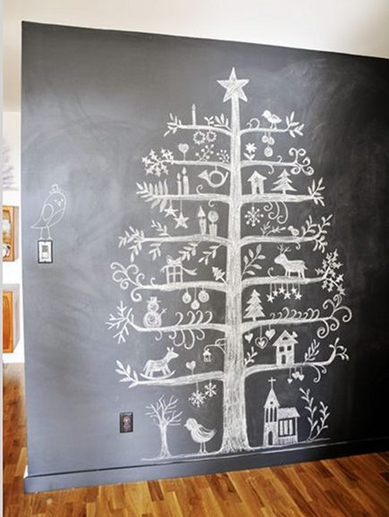 alternative holiday trees include a folk art style Christmas tree chalkboard drawing - publimetro via atticmag