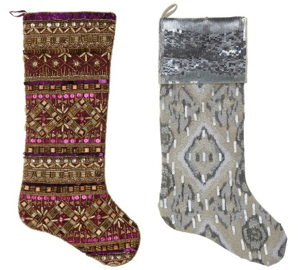 sequin and metallic threads Christmas stockings by Kim Seybert
