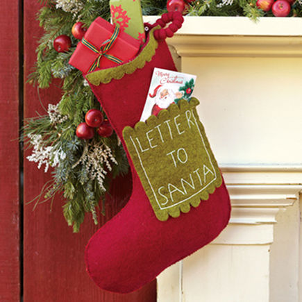 Letter to Santa Christmas stocking from Sundance Catalog