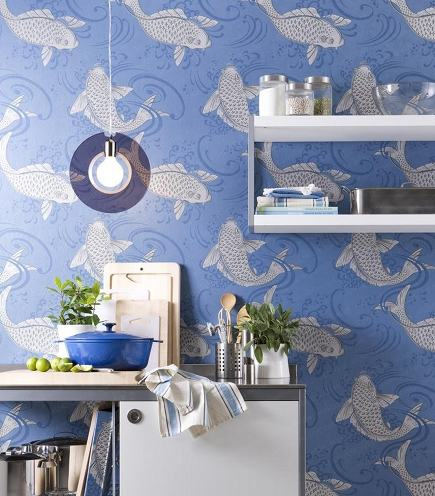 Osborne & Little Derwent koi wallpaper - wunderweib via atticmag