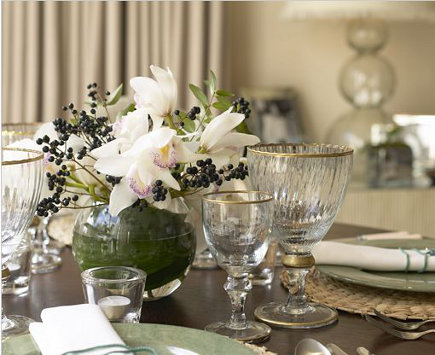 Jane Churchill table setting with celadon dishes an white flowers