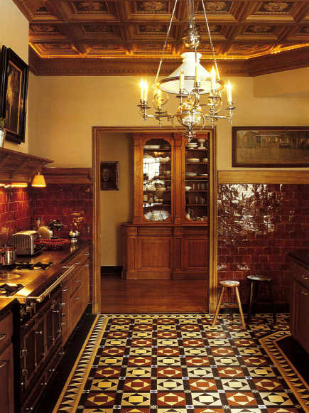 cement tile Victorian patterned kitchen floor