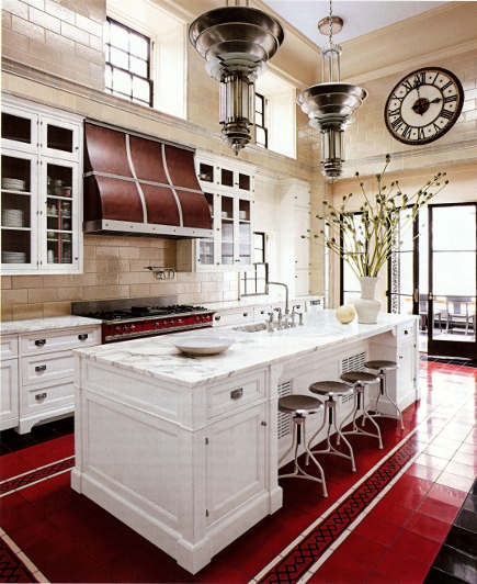 Art Deco style kitchen with red, black and white tile floor