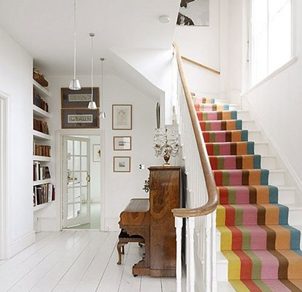 colorful striped staircase runner - decor 8 via atticmag