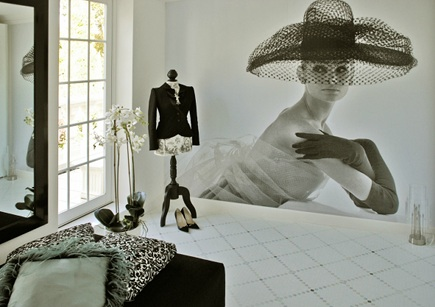 black and white photograph wall mural for 1st Option
