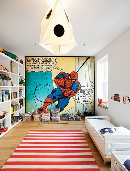 oversized art - Spiderman comic wall mural in childrens room from NYTimes via atticmag