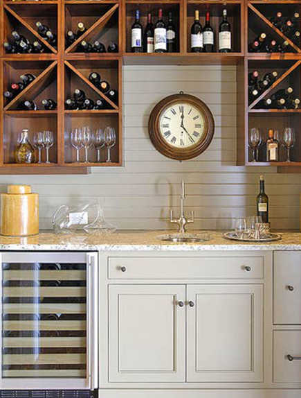 built in beverage bar with emphasis on wine service and storage