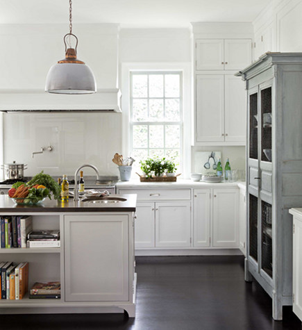 antique gray hutch set into wall of kitchen cabinets - House Beautiful via atticmag