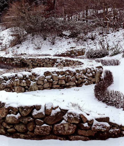 Winter view of the garden at Berchigranges, in Alsace