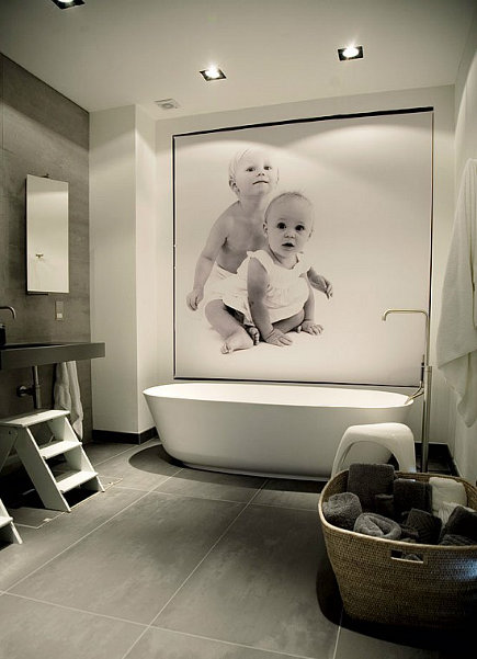 bathroom ideas - large scale photo mural in a contemporary bathroom - printedspace via atticmag