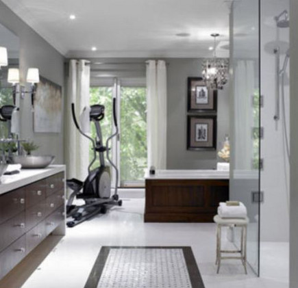 master bath with space for workout equipment