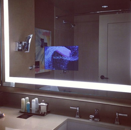 bathroom mirror with integral tv