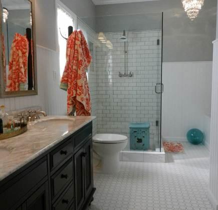 white subway tile master bathroom remodel with glass shower enclosure in master bath redo - Atticmag