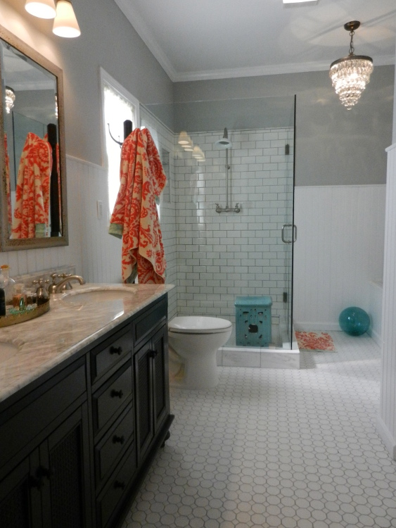 master bath redo - white subway tile master bathroom remodel with glass shower enclosure - Atticmag