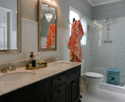 dark stained double vanity with Carrara marble counter in master bath redo - Atticmag
