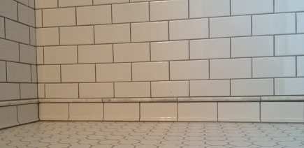 white subway tile shower with marble pencil trim detail